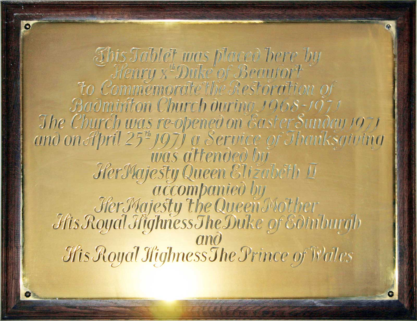 Brass plaque to Commemorate the 1971 Restoration of Great Badminton