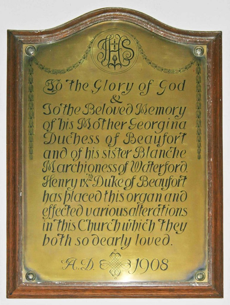 Brass Memorial to Georgina, Duchess of Beaufort