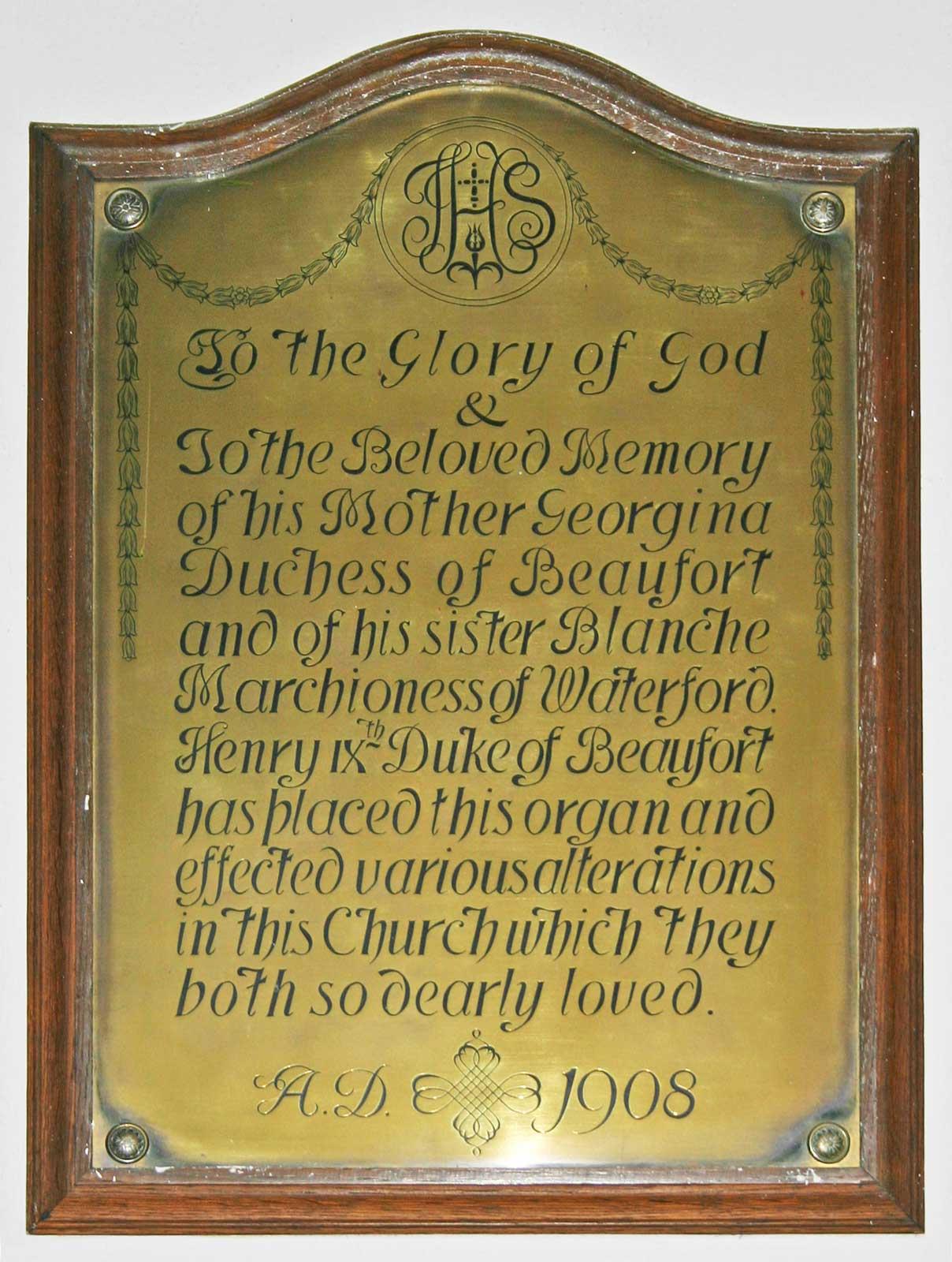 Brass Memorial to Georgina, Duchess of Beaufort