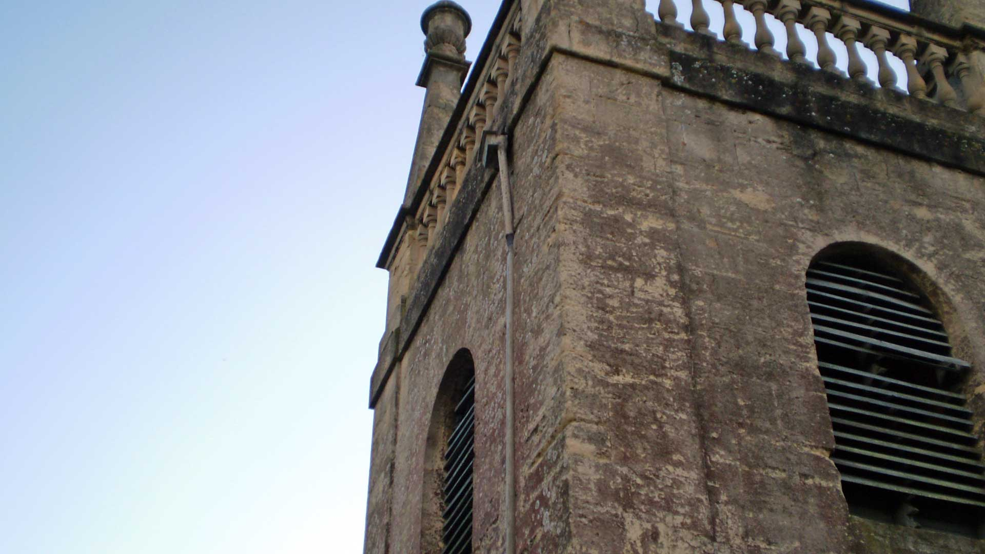Damaged Drainpipe and Sound Louvres on the Tower