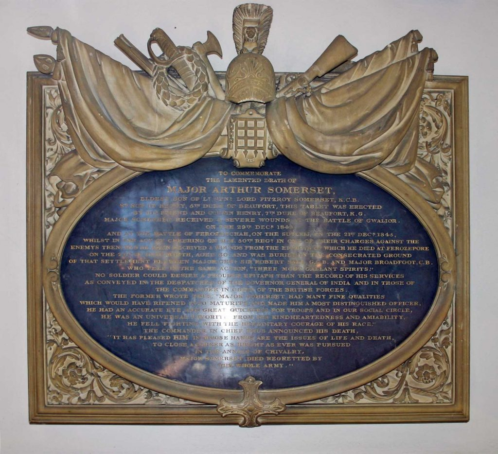 Memorial to Major Arthur Somerset