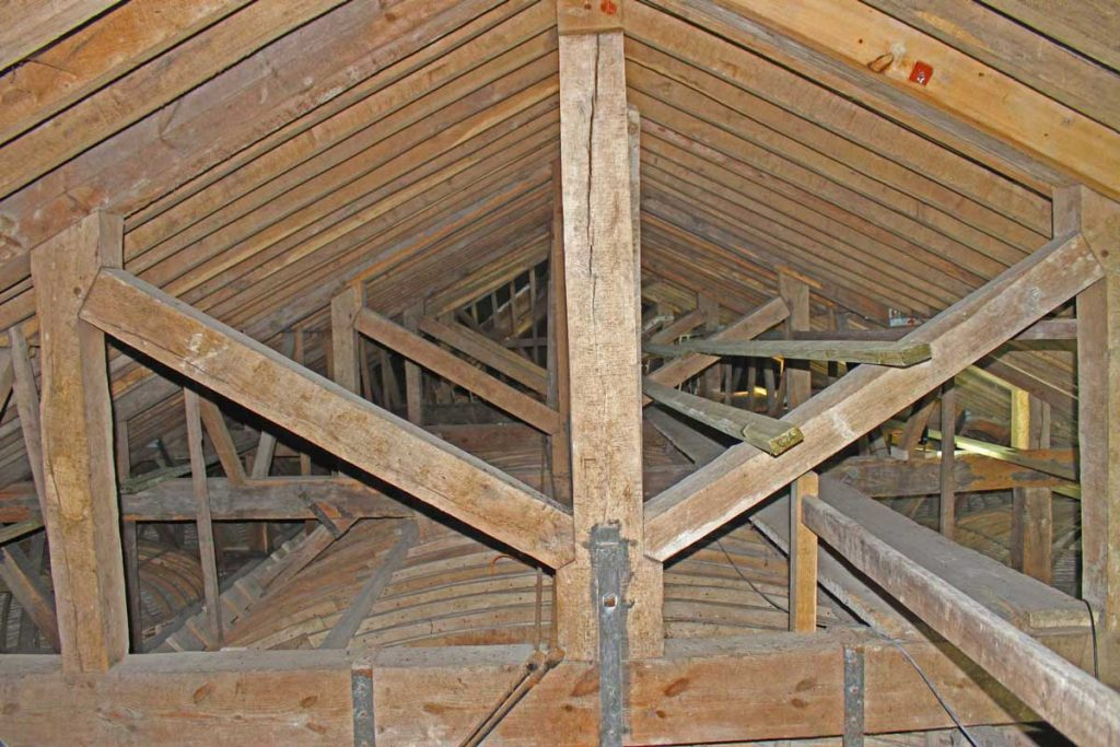 Oak Beams Above the Tunnel Vault