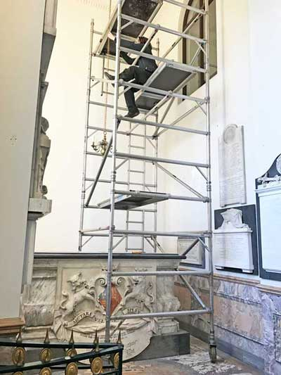 Rehanging the Chandelier in the 1st Duchess of Beaufort's Chapel
