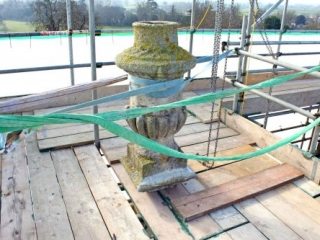 The South-East Pinnacle Urn Removed and Secured