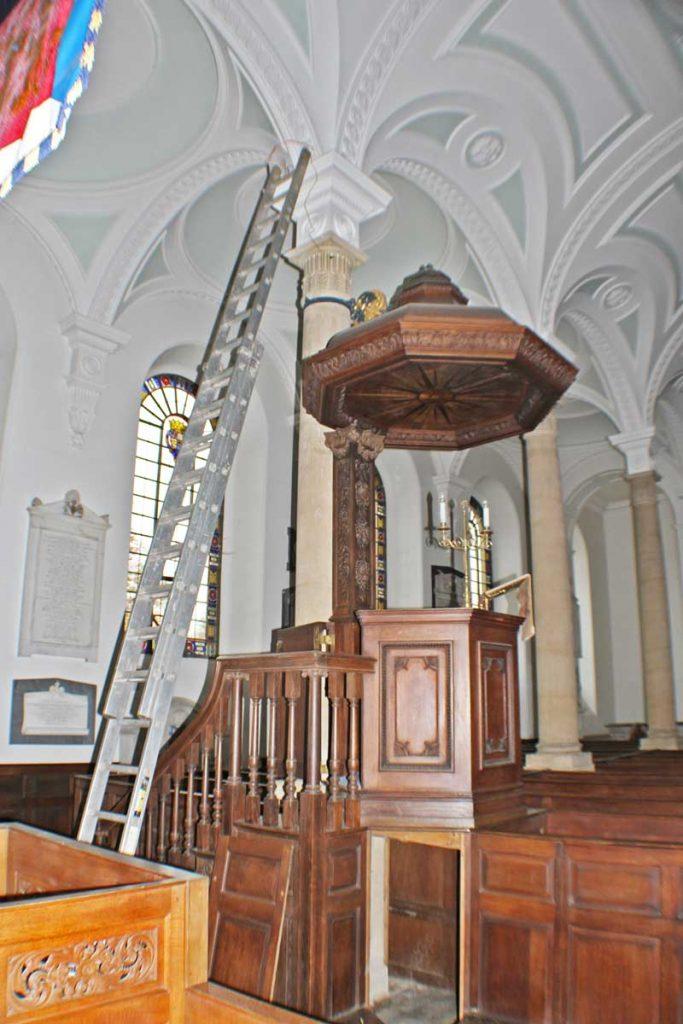 Spotlight Installation on a Column