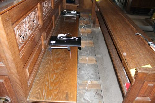 Under-Pew Heaters Ready to be Installed in the Choir Stalls