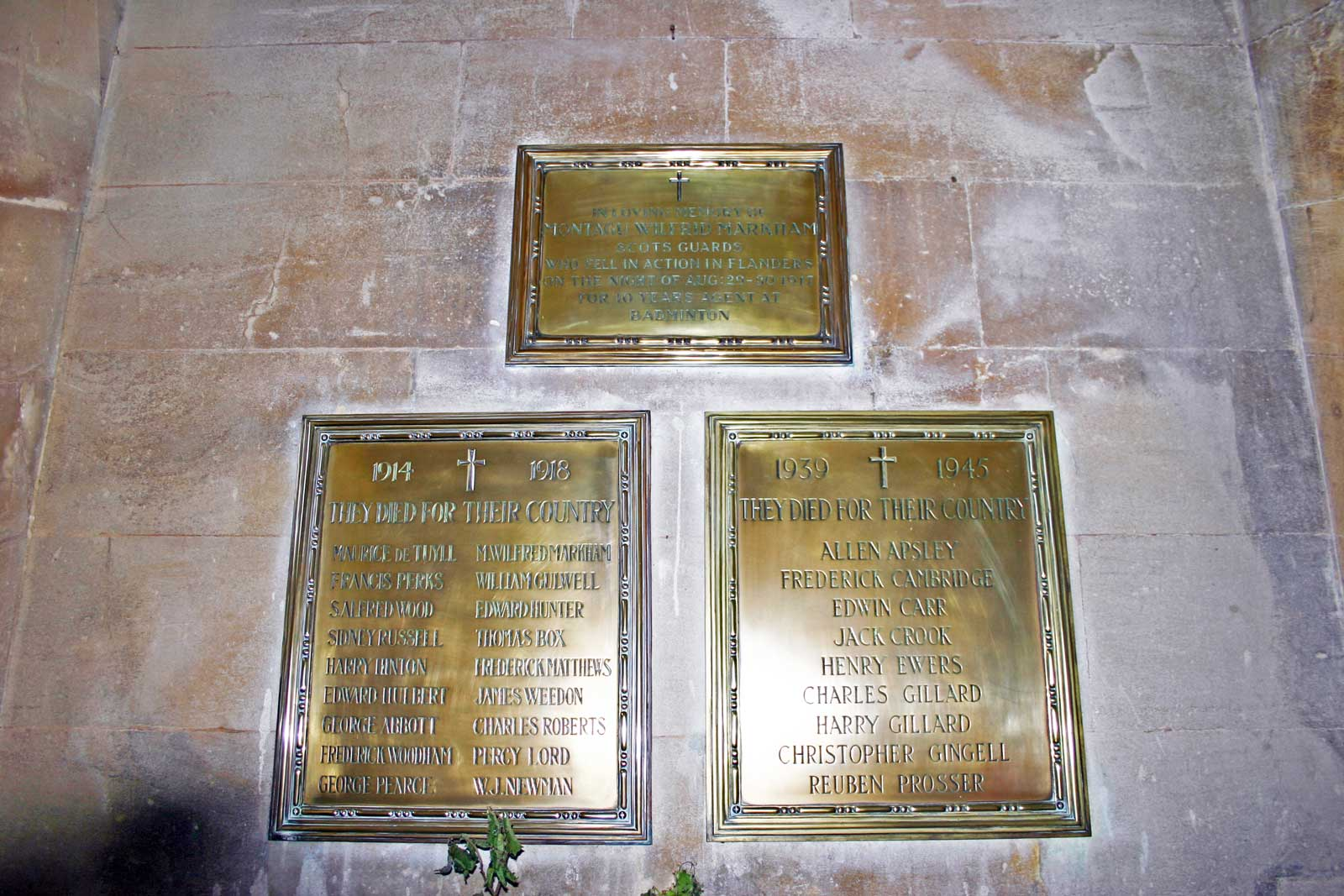 The Badminton War Memorial Plaques